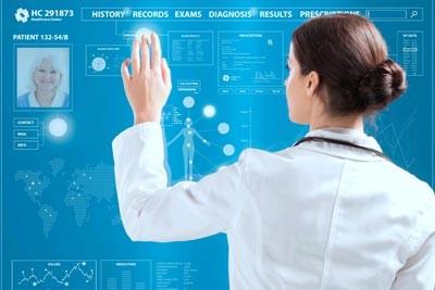 Nurse with futuristic chart