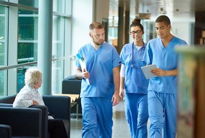 group of nurses walking
