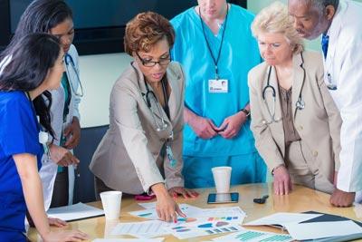 Organizational meeting with nurses and hospital leadership