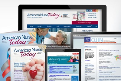 ANA Journals covers and home pages, including American Nurse Today, OJIN, and Nursing Insider