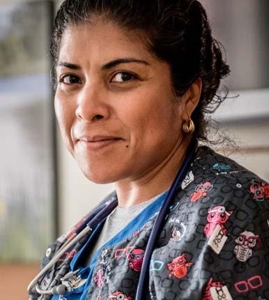 Nurse in focus and confident